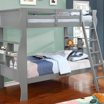 Tasha Grey Twin over Twin Bookcase Bunk Bed