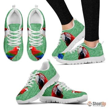 Fashion Online Red And Green Macaw Parrot Running Shoes For Women-free Shipping