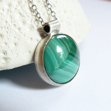 Malachite Sterling silver pendant, handmade metalwork necklace, natural jewelry