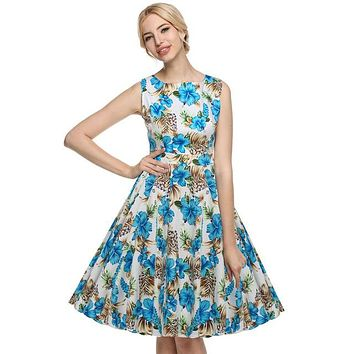 Floral Swing Summer Dress in White with Blue Roses