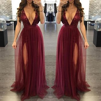 Fashion Sexy V neck straps gauze splicing sequins long dress
