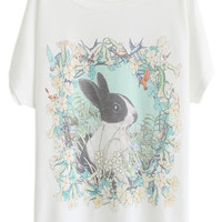 ROMWE Floral & Rabbit Print White T-shirt