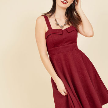 Pull Up a Cherry A-Line Dress in Embossed Ruby | Mod Retro Vintage Dresses | ModCloth.com