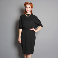 60s Two Piece DRESS / Black Wool MAM'SELLE Set, m