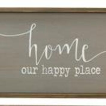 Wood Home Our Happy Place Box Sign