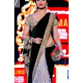 Shriya Saran Black and Off White Velvet Saree