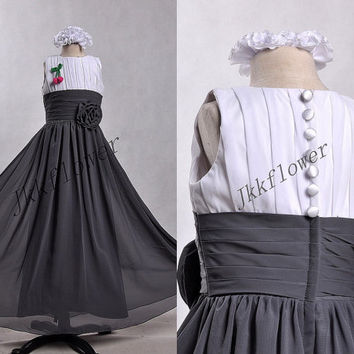Gray chiffon Flower Girl Dresses,Covered Handmade Buttons Children's Party Pageant Dresses,Flower Party Dancing Dresses