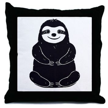 Chubby Buddha Sloth Throw Pillow by ChubbyBuddhaSlothORama