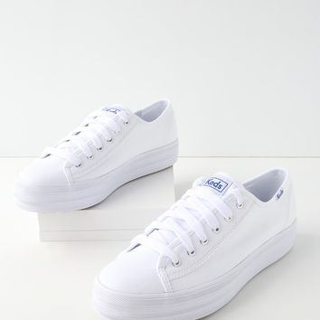 Triple Kick White Flatform Sneakers