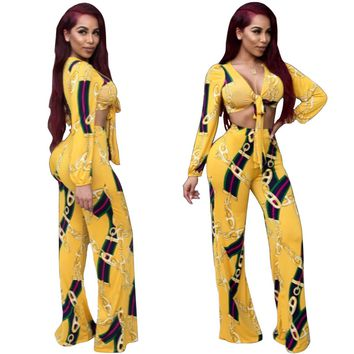 Chains Print Yellow Two Piece Set