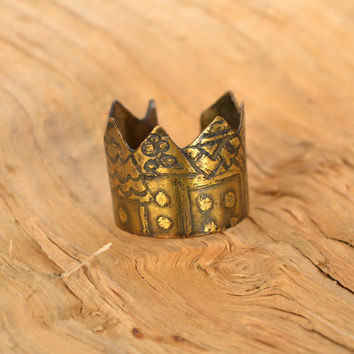 Ring handmade fairy houses copper metal jewelry