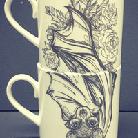 Floral Bat Stacking Mug Pair