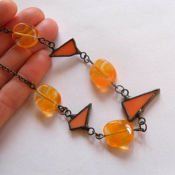Stained glass necklace, orange beaded jewelry, artistic necklace, orange glass beaded, statement necklace, Frolicsome