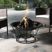 Outdoor Fire Pit Circular Base With Fire Poker Weather Resistant Outdoor Decor