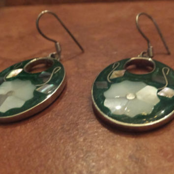 Vintage Alpaca Silver Green Earrings Mother of Pearl Flower Inlay Mexico