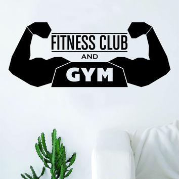 Fitness Club and Gym Sports Center Quote Health Work Out Decal Sticker Wall Vinyl Art Wall Room Decor Weights Dumbbell Motivation Inspirational