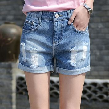 KJA216 Summer New Koreab Women High Waist Denim Shorts Female Casual Loose Cuffs Hot Shorts Big Size Hole Short Trousers Jeans