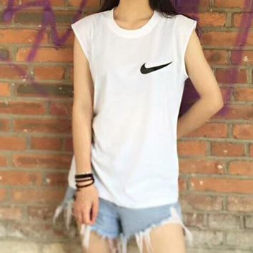 """Nike""Fashion Casual Classic Chest Hook Print Round Neck Sleeveless Vest Lovers T-Shirt Top White I-AA-XDD"