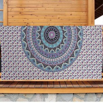 DCCKJG2 NEW!!!Bohemia Mandala Blue Tapestry Wall Hanging Bohemian Ethnic Decor Beach Towel Yoga Mat Blanket Table Cloth
