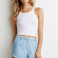 Topstitched Denim Shorts