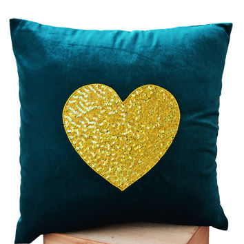 Teal Heart Pillow- Teal velvet Pillows -Velvet Throw Pillow -Decorative cushion cover- Yellow Teal Throw pillow - Gift -12x12 -Couch Pillows