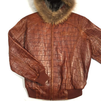 Pelle Pelle Hooded Alligator Print Leather Jacket