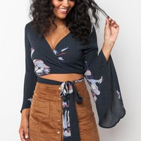 Like the Wind Wrap Crop Top in Grey
