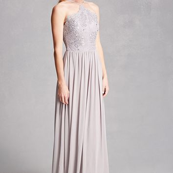 Sequined Halter Maxi Dress
