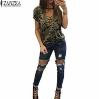 S-5XL ZANZEA Women Choker V Neck Tops T-Shirt Summer Ladies Camouflage Printed Lace-up Tie Plunge Casual Loose Top Tees Blusas