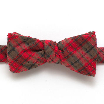 1940s Danville Textured Plaid Classic Bow