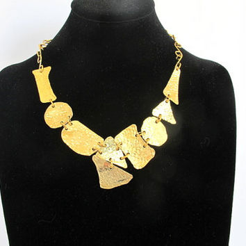 Hammered brass bib, tribal armor neck piece, hammered brass jewelry