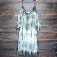 desert sand dress in tie dye olive
