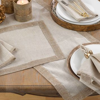 Lily Beaded Trim Table Runner | 72-Inch