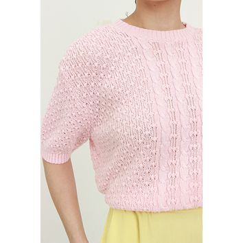 80s Bubblegum Pink Cable Knit Sweater