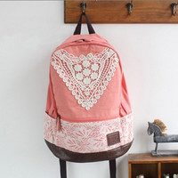 CUTE LACE CANVAS BACKPACK FOR GIRLS LADIES