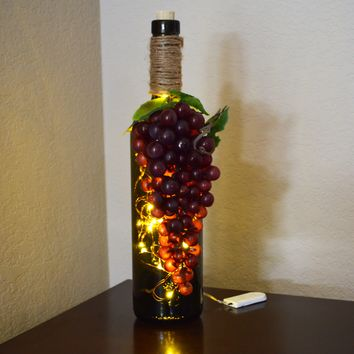 Green Glass Bottle Fairy Light Accent Table Lamp