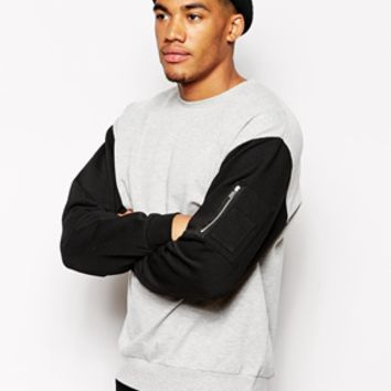 ASOS Oversized Sweatshirt With MA1 Pocket