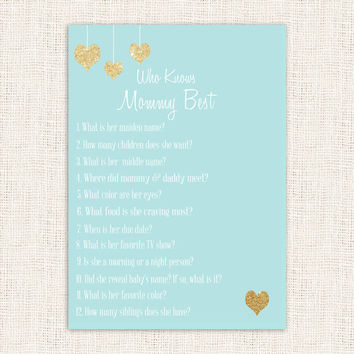 Who Knows Mommy Best Shower Game blue and Gold heart Baby Shower Printable Instant Download Digital Boy Baby Shower Games