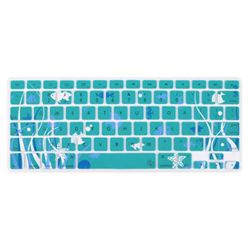 "Aqua Blue Starfish Ocean Coral Reef Fish Theme Keyboard Cover Decal Skin for Apple Macbook Macbook Pro iMac Keyboard  13"" 15"" 17"""