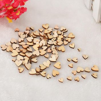 100pcs Rustic Wood Wooden Love Heart Wedding Table Scatter Decoration Crafts DIY Craft Accessories
