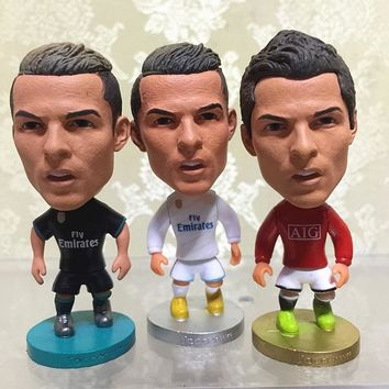 3pcs Soccerwe Football Doll Cristiano Ronaldo Figure 2017 Season World Player Collections Child Gift