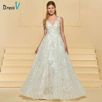 Dressv Long Wedding Dress V Neck Sleeveless Tulle A Line Appliques Lace Backless Simple Garden Church Custom Wedding Dress