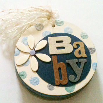 Premade Mini Scrapbook Chipboard Album Baby Boy