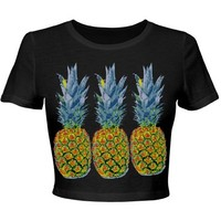 Pineapple Party Neon: Custom Junior Fit Bella Crop Top T-Shirt - Customized Girl