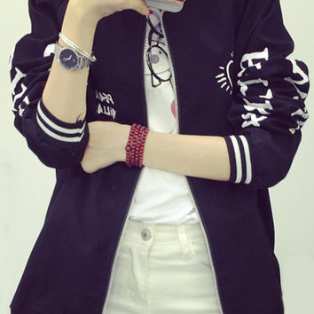 Black Stand Collar Letter Printed Zippered Coat