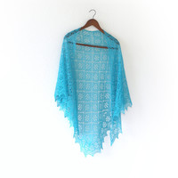 Knit shawl in turquoise color, lace shawl, gift for her (25 colors available)