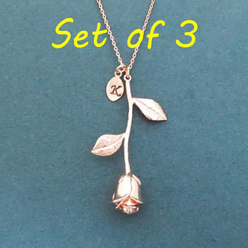 Set of 3, Vertical rose, Personalized, Initial, Rose, Flower, Gold, Silver, Rose gold, Necklace, Birthday, Wedding, Friendship, Jewelry