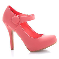 Olisa30 Melon By Bamboo, Elastic Pull Button Closure Mary Jane Fancy Dress Platform Pump Heel