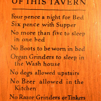 Rules of This Tavern Wooden Sconce Vintage Tavern Rules Wall Hanging Candle Holder Man Cave Decor English Pub Decor Bar Sign