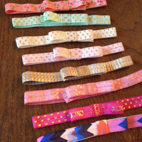 Elastic Bow Headbands on Printed Elastic - You Pick Pattern